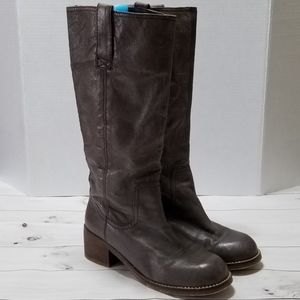 Steve Madden Chunky Heel Tan Leather Foreway Boots